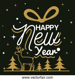Happy new year 2021 with reindeer and pine trees vector design