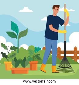 Gardening man with rake and plants inside pots vector design