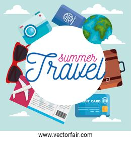 summer and travel icon set circle vector design