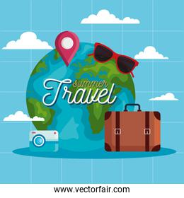 summer and travel world and bag vector design