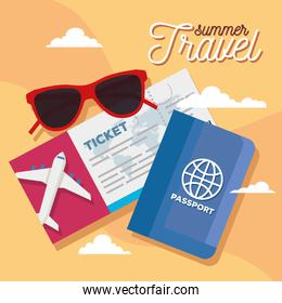 summer and travel ticket glasses and passport vector design