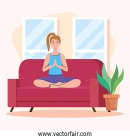 woman doing yoga on couch at home vector design