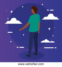 black man cartoon back with clouds vector design