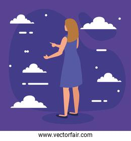 blond woman cartoon back with clouds vector design