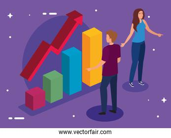 bars chart with increase arrow woman and man vector design