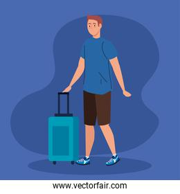 travel man with bag vector design
