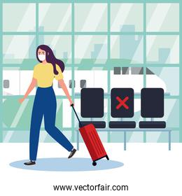 New normal of woman with mask and bag at airport vector design
