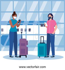 New normal of women with mask and bags at airport ector design