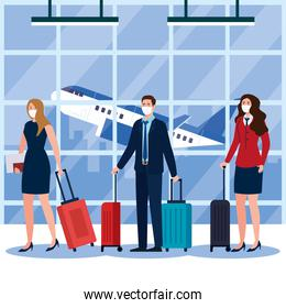 New normal of woman man and stewardess with mask and bags at airport ector design