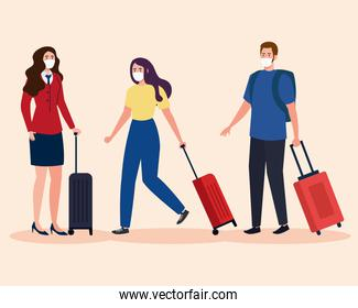 New normal of stewardess woman and man with mask and travel bags vector design