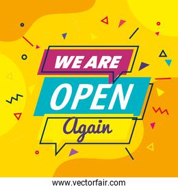 banner, lettering we are open again on yellow background