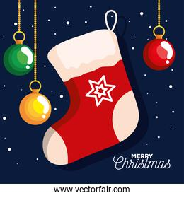 christmas sock with balls hanging, banner of new year and merry christmas celebration
