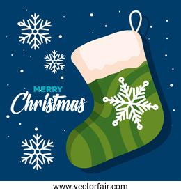 christmas sock with snowflakes, banner of new year and merry christmas celebration
