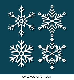 set of snowflakes christmas decoration
