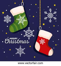 christmas socks with snowflakes decoration, banner of new year and merry christmas celebration