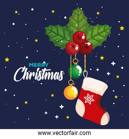 christmas sock with decorative leaves and balls hanging, banner of new year and merry christmas celebration