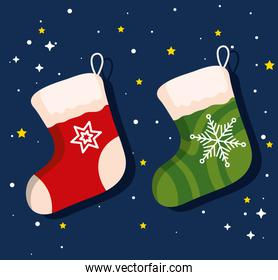 christmas socks, banner of new year and merry christmas celebration