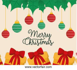 merry christmas gifts with spheres hanging vector illustration