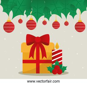 merry christmas gift and candle with spheres hanging vector design