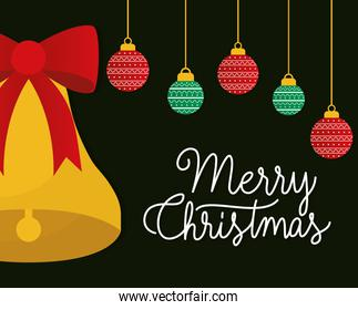 merry christmas bell with spheres hanging vector design