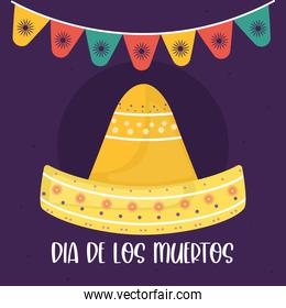 Mexican day of the dead hat with banner pennant vector design