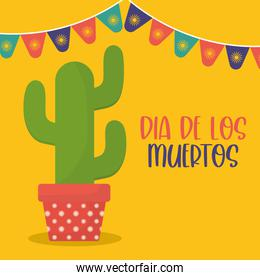 Mexican day of the dead cactus with banner pennant vector design