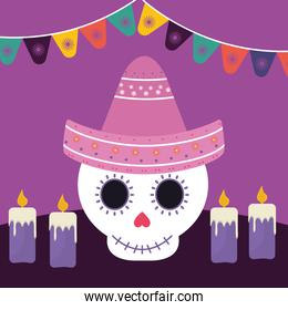 Mexican day of the dead skull with hat and candles vector design