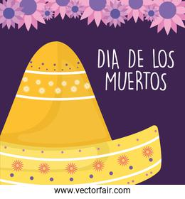 Mexican day of the dead hat with flowers vector design