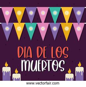 Mexican day of the dead candles with banner pennant vector design