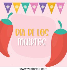 Mexican day of the dead chillis with banner pennant vector design