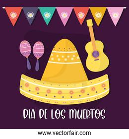 Mexican day of the dead maracas hat and guitar vector design