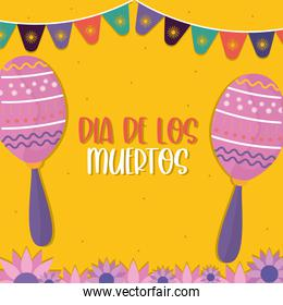 Mexican day of the dead maracas with banner pennant vector design