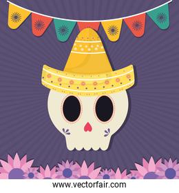 Mexican day of the dead skull with hat and flowers vector design