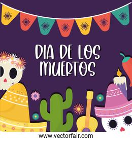 Mexican day of the dead icon set with banner pennant vector design