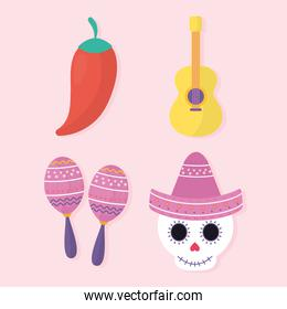 Mexican day of the dead set icons vector design