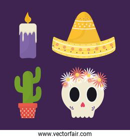 Mexican day of the dead icons collection vector design