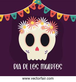 Mexican day of the dead skull head with flowers vector design