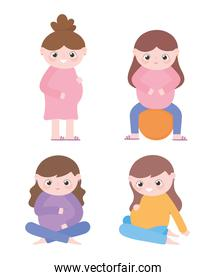 pregnancy and maternity, different pregnant women cartoon