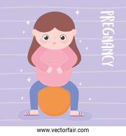 pregnancy and maternity, cute pregnant woman sitting on fitball cartoon