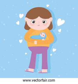 pregnancy and maternity, cute mom carrying baby cartoon