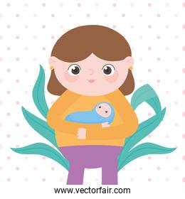 pregnancy and maternity, cute mom carrying a her baby cartoon