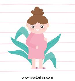 pregnancy and maternity, cute pregnant woman in pink dress cartoon