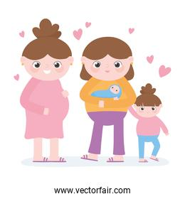 pregnancy and maternity, cute pregnant woman and mom with kids cartoon