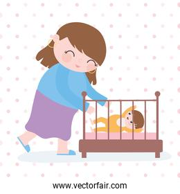 pregnancy and maternity, cute mom with her a baby in crib cartoon