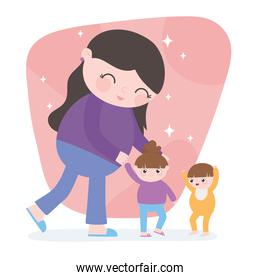 pregnancy and maternity, cute mother with her little daughter and son cartoon