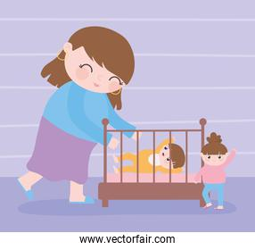 pregnancy and maternity, cute mom with her a baby in crib and little daughter cartoon
