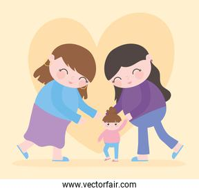 pregnancy and maternity, cute women with little girl cartoon