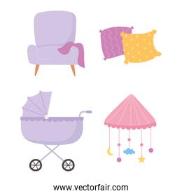 pregnancy and maternity, baby pram chair cushions and mobile crib icons