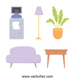 ultrasound machine lamp plant and sofa icons