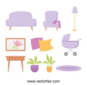 pregnancy and maternity, set icons sofa chair pram plants table and lamp
